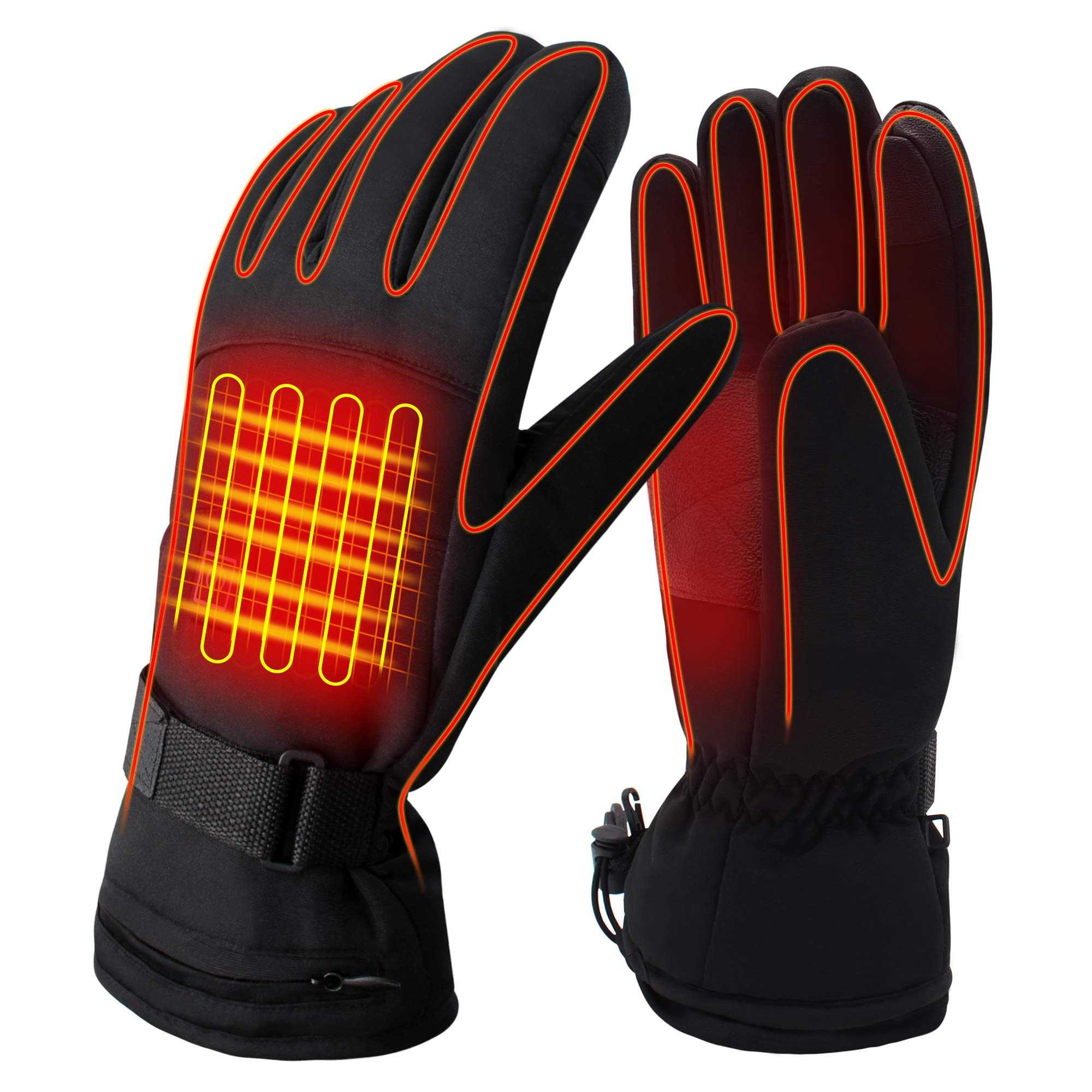 QILOVE Electric Heated Gloves,Hand Warmer with Rechargeable Batteries,Winter Extra Warm Heat Touchscreen Gloves Kit,Hiking Motorcycling Skiing Cold Weather Must-Have Men Women Heating Gloves by QILOVE