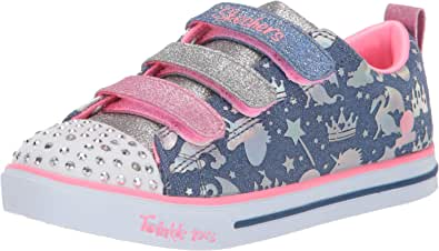 Skechers Sparkle Lite - Sparkleland Girls Sneakers, Light Blue/Multi, 4 US