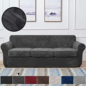 RHF Velvet Couch Cover 4 Piece Sofa Cover Sofa Slipcover-Couch Covers for 3 Cushion Couch,3 Separate Cushion Cover, Sofa Covers for 3 Cushion Couch,Couch Covers for Dogs(Large,Dark Gray)