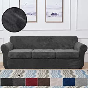 RHF Velvet Couch Cover 4 Piece Sofa Cover Sofa Slipcover-Couch Covers for 3 Cushion Couch,3 Separate Cushion Cover, Sofa Covers for 3 Cushion Couch,Couch Covers for Dogs(Sofa,Dark Gray)