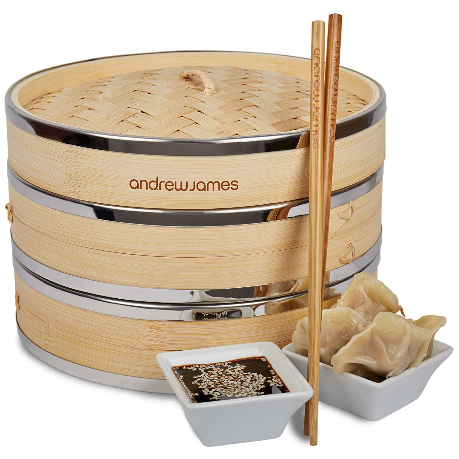 Andrew James Bamboo Steamer Set | 2 Tier 9