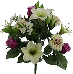 Admired By Nature ABN1B003-VIO-CM Artificial 18 Stem Lily,Rose Bud,Mum Mixed Bush, Violet/Cream
