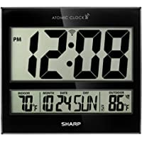 """Sharp Atomic Clock - Atomic Accuracy - Never Needs Setting! - Jumbo 3"""" Easy to Read Numbers - Indoor/Outdoor Temperature Display with Wireless Outdoor Sensor - Battery Powered - Easy Set-Up!!"""