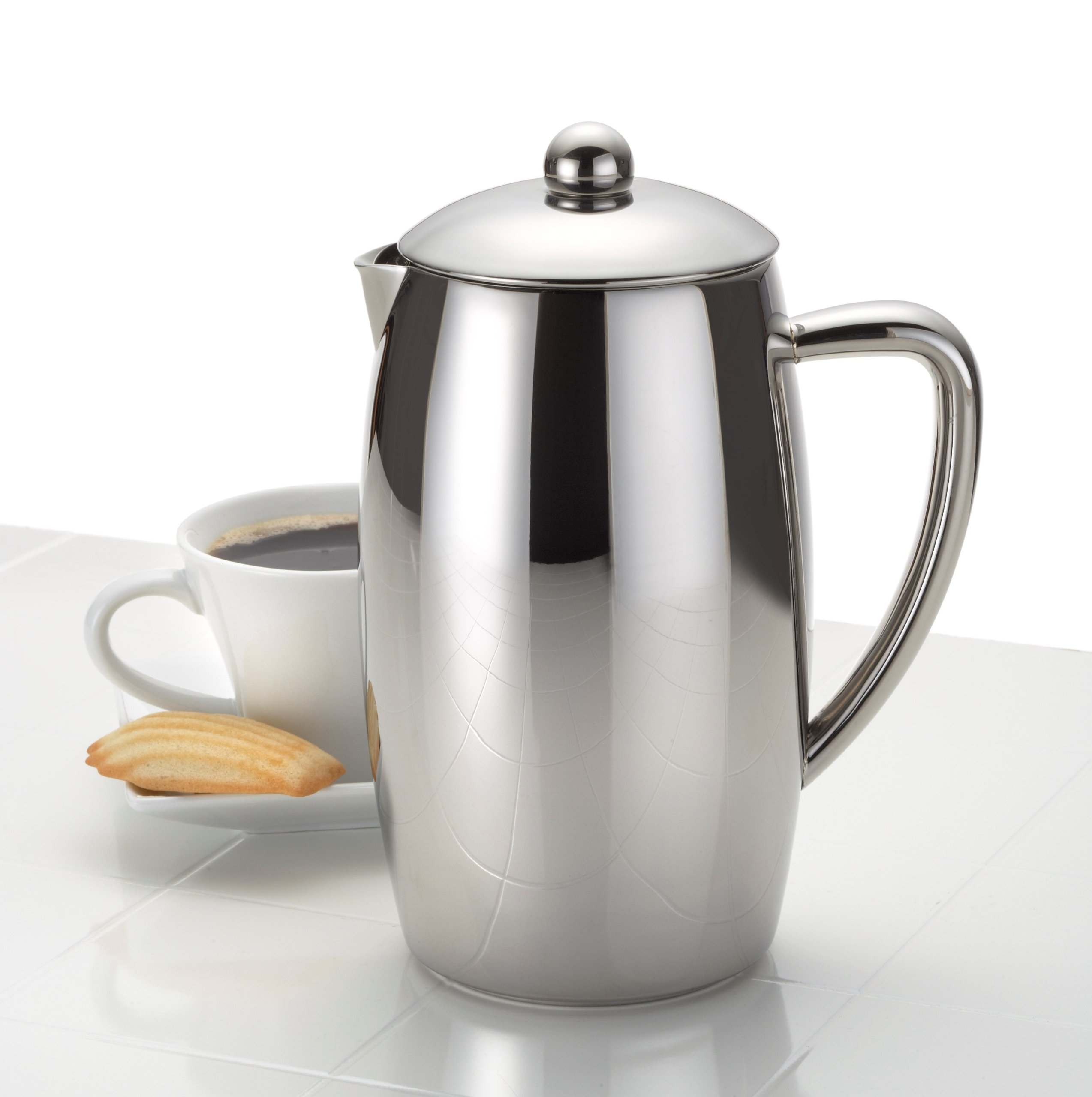 BonJour Coffee Self-Insulated Stainless Steel French Press, 33.8-Ounce, Triomphe(tm) by BonJour