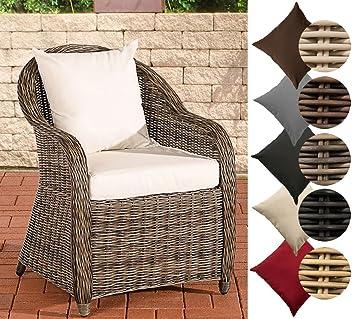 CLP Polyrattan-Sessel FARSUND inklusive Sitzkissen I Robuster Gartenstuhl  mit einem Untergestell aus Aluminium I erhältlich Rattan Farbe  grau-meliert, ...