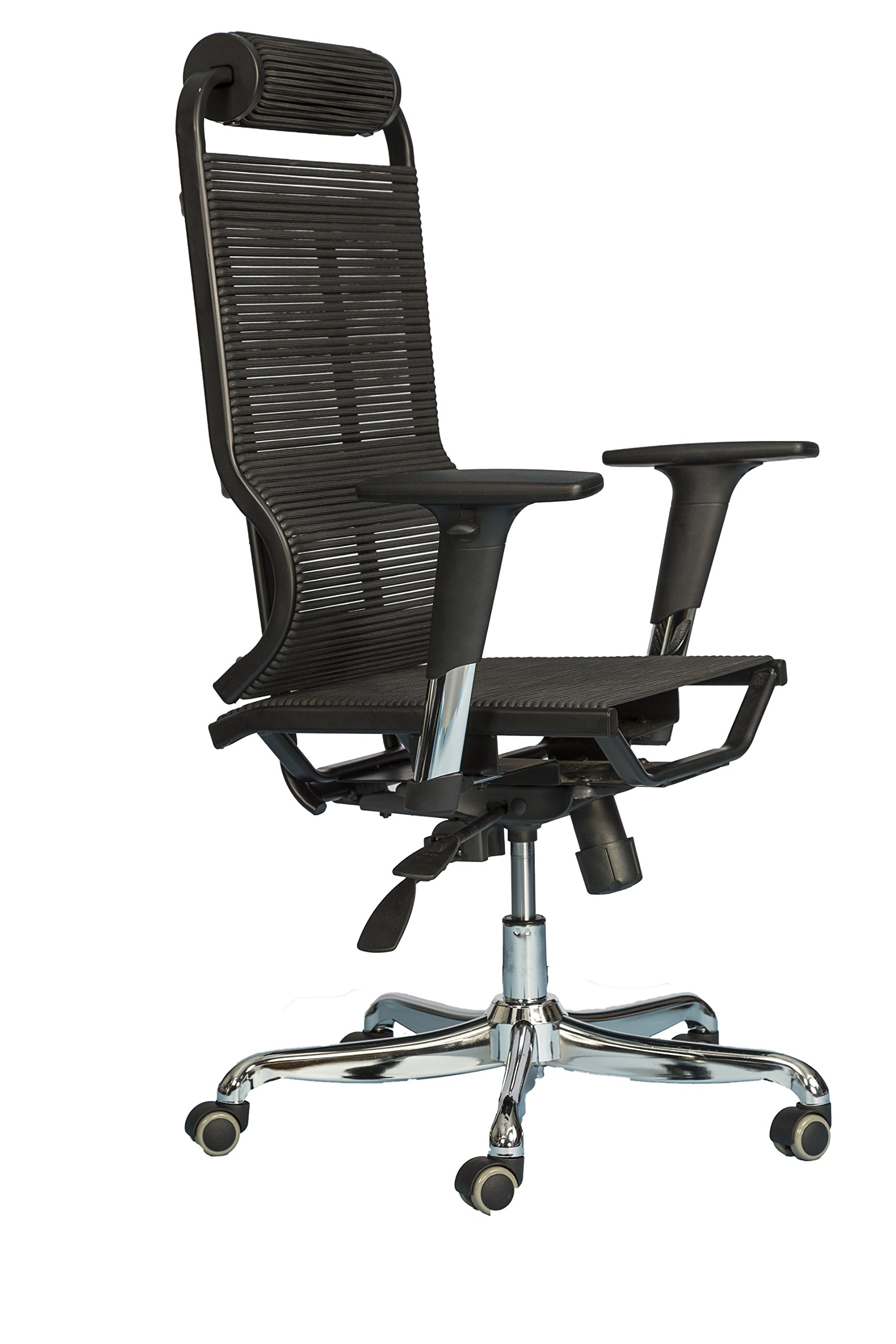 Ergonomic Office Chair High Back – Breathable Comfortable Bungee Seat Mesh & Leather Alternative Executive Computer Desk Task Chair w/ Adjustable Arms, Reclining Ergo Rolling Black Swivel Chair