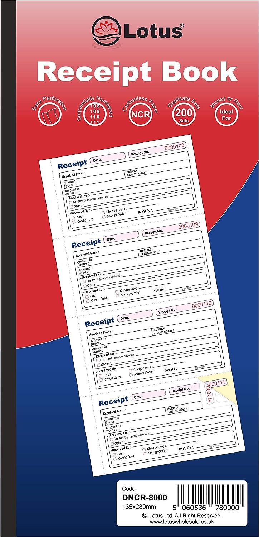 2-Parts Carbonless DNCR-8000 Money Rent Receipt Book Duplicate 135 x 280mm Duplicate Receipt Book NCR 5 Books