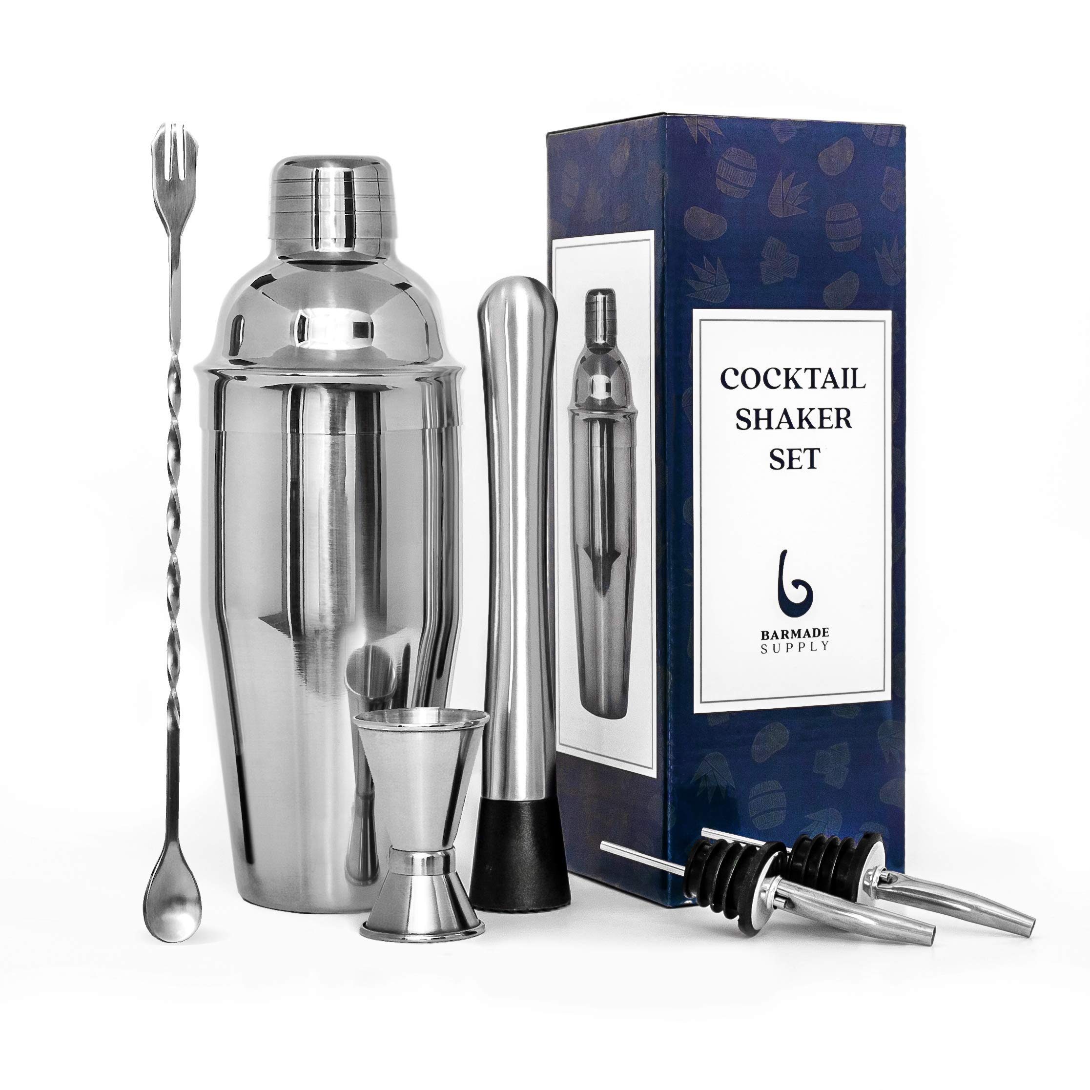 Cocktail Shaker Set by Barmade Supply - 24 Oz stainless steel shaker with strainer, 10 Inch mixing spoon, Muddler, Double jigger, 2 Liquor pourers - Professional bar accessories kit - Unique gift by Barmade Supply