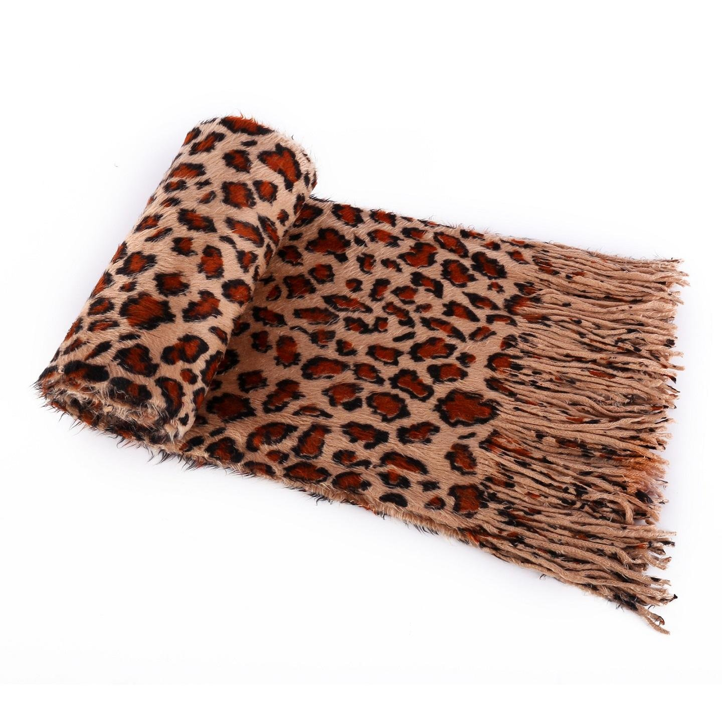 Winter Warm Long Soft Napping Scarf (Leopard Print) panda01