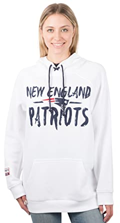info for 4940d 329f3 NFL New England Patriots Women's Fleece Hoodie Pullover Sweatshirt Tie  Neck, X-Large, White