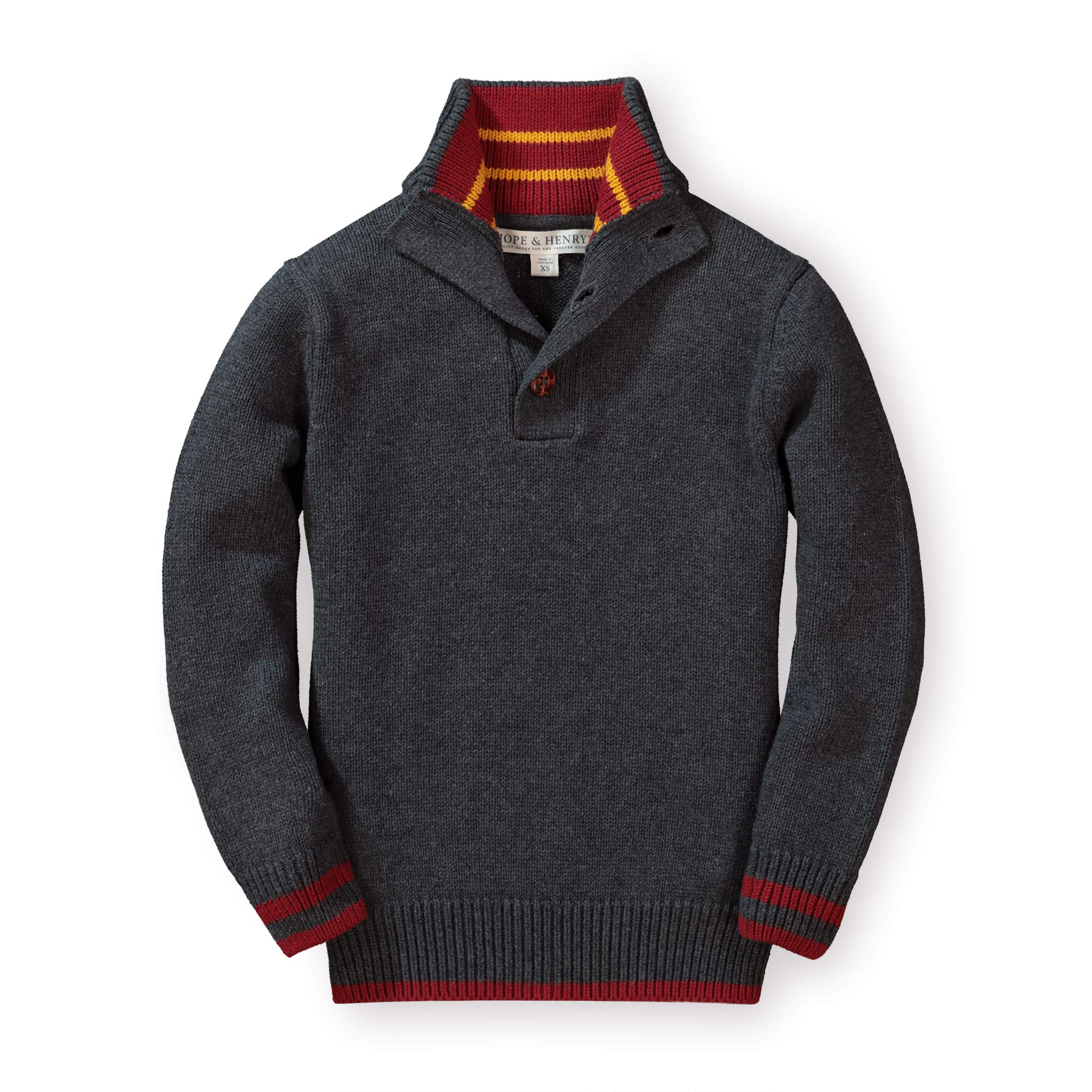 Hope & Henry Boys' Dark Heather Gray Mock Neck Sweater