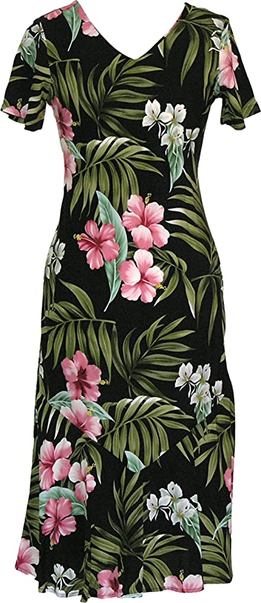 1950s Fashion Dresses:  Floral, Tropical, Tiki, Hawaiian  Hibiscus Orchid Bias Flare Long Dress $69.00 AT vintagedancer.com