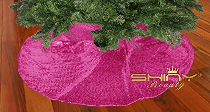 Shinybeauty 24inch Christmas Tree Skirt Hot Pink Sparkly Sequin Tree Skirt Christmas Tree Stand Cover Decoration Hot Pink