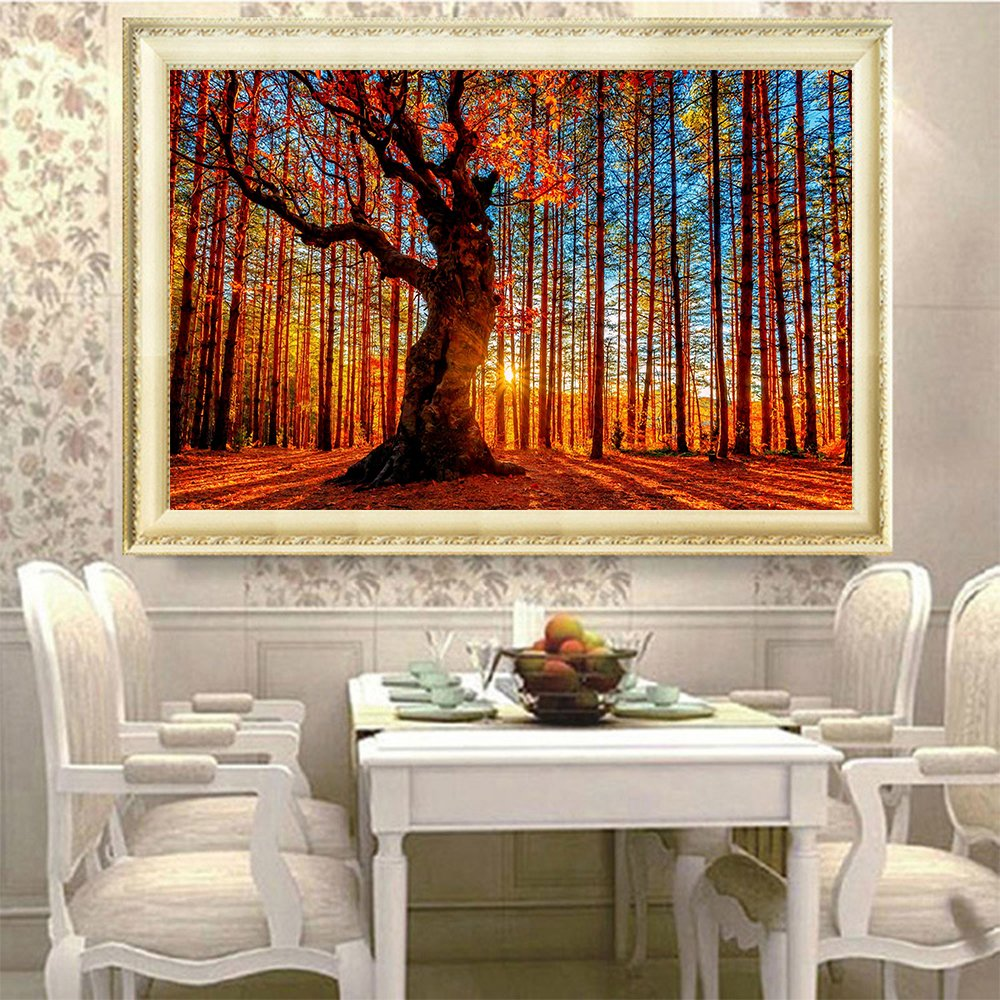 Fipart DIY diamond painting cross stitch craft kit,Wall stickers for living room decoration, tree 14X18inch//35X45CM
