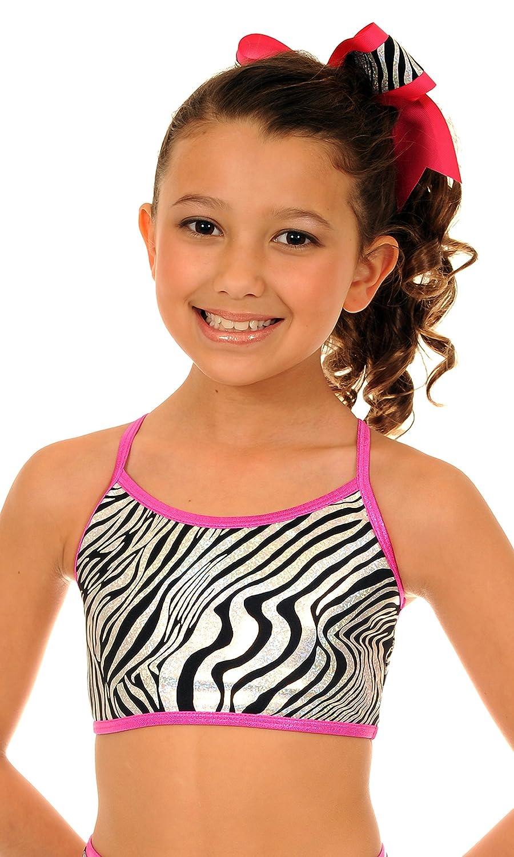 TumbleWear Big Girls Hot Pink Wild Zebra Sports Bra