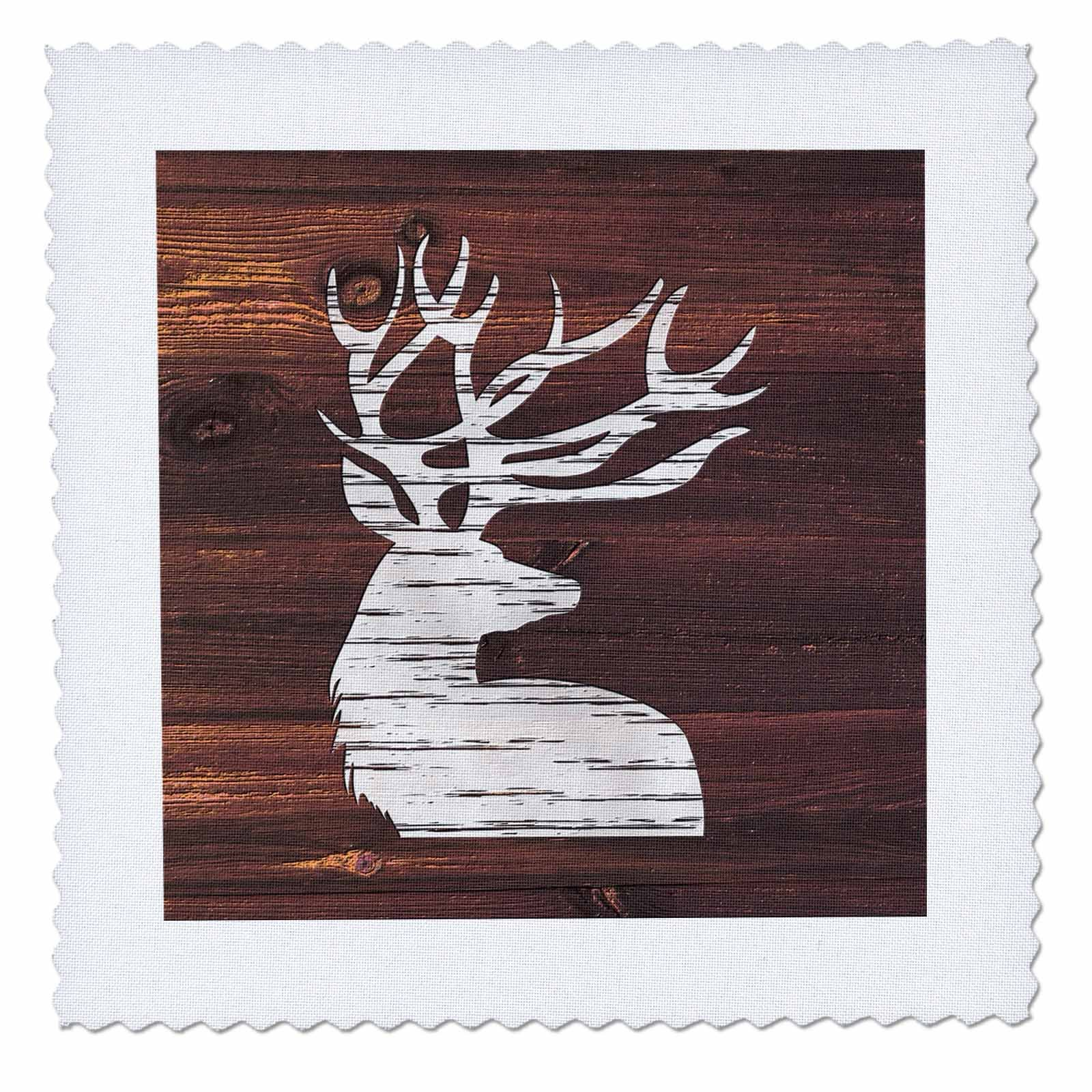 3dRose Russ Billington Designs - White Painted Stag with Antlers on Brown Weatherboard- Not Real Wood - 20x20 inch quilt square (qs_262014_8)