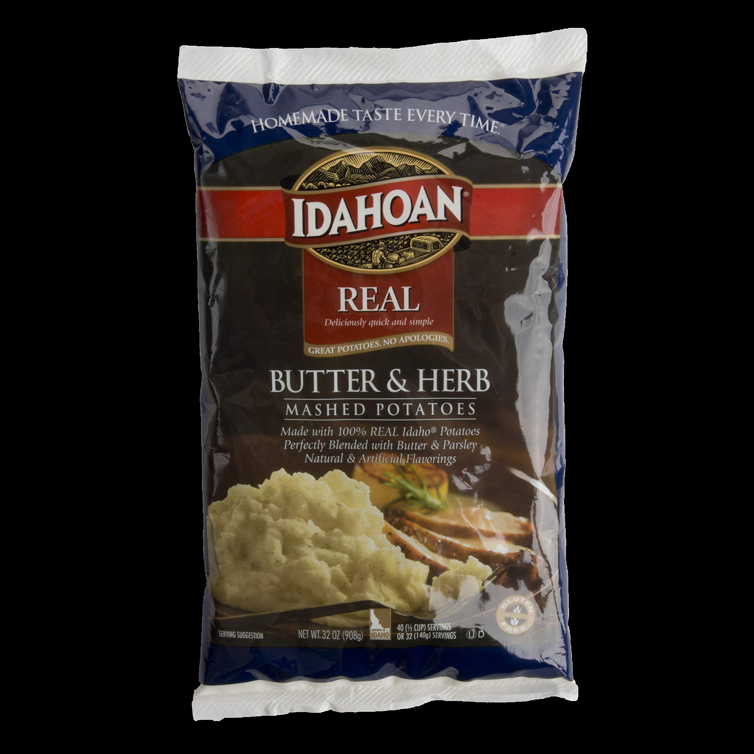 Idahoan Real Butter and Herb Mash Potatoes, 32 Ounce - 8 per case.