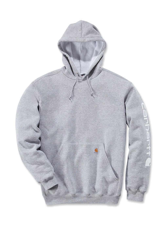 Carhartt Midweight Signature Sleeve Logo Hooded Sweatshirt - Kapuzenpullover (XL, grau)