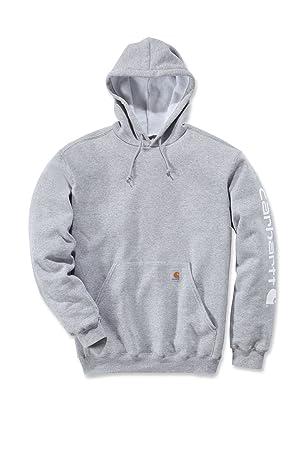 Carhartt Midweight Signature Sleeve Logo Hooded Sweatshirt - Sudadera con capucha (L, gris): Amazon.es: Bricolaje y herramientas