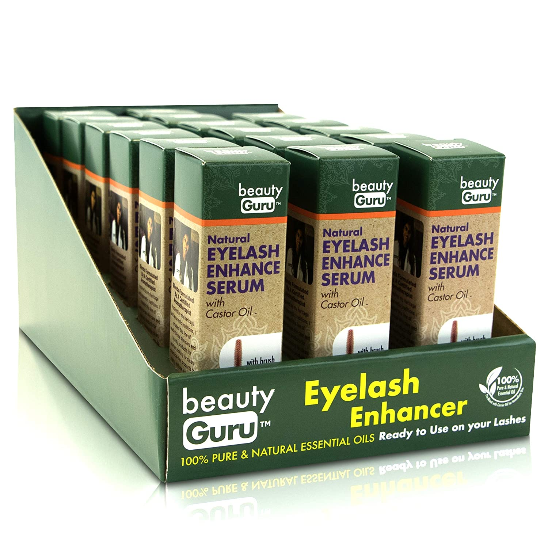 Beauty Guru Castor Oil Eyelash Serum - With Easy Brush Applicator, Vitamin E Rich Natural Hair Growth Oil, Rosemary Essential Oil For Nourishment, 0.27 fl. oz. (8ml)