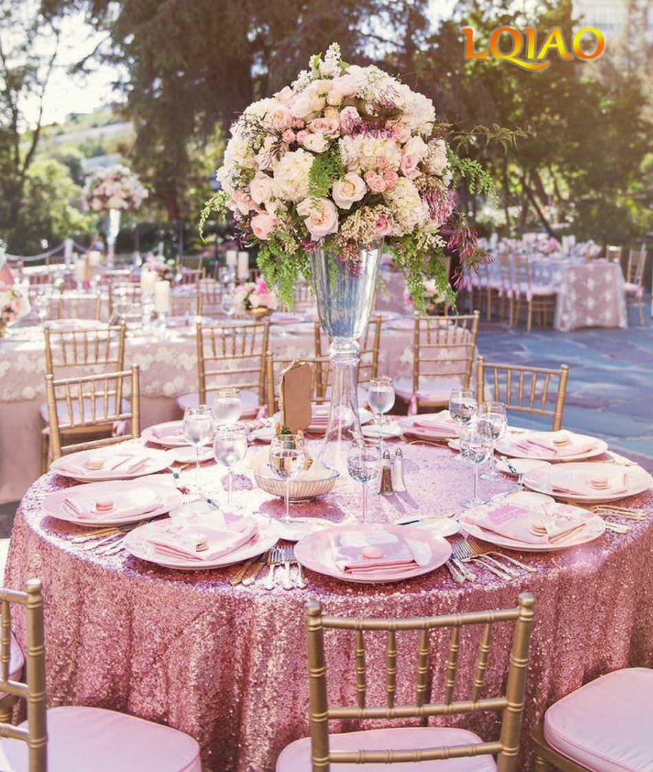Cheapest 10PCS 120inch Round Sequin Tablecloth, Pink Gold Table Cloth Sparkly Wedding Tablecloth Evening Party Decoration by LQIAO