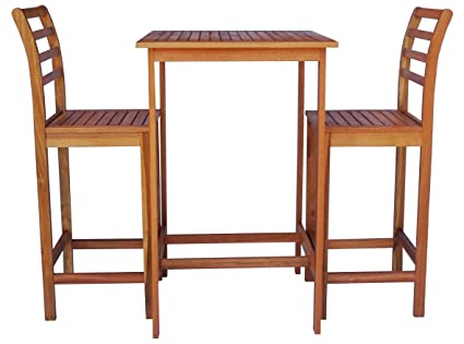 Zen Garden Furniture Intended Zen Garden Zg014 Eucalyptus 3piece Bar Set With Table And Chairs Amazoncom