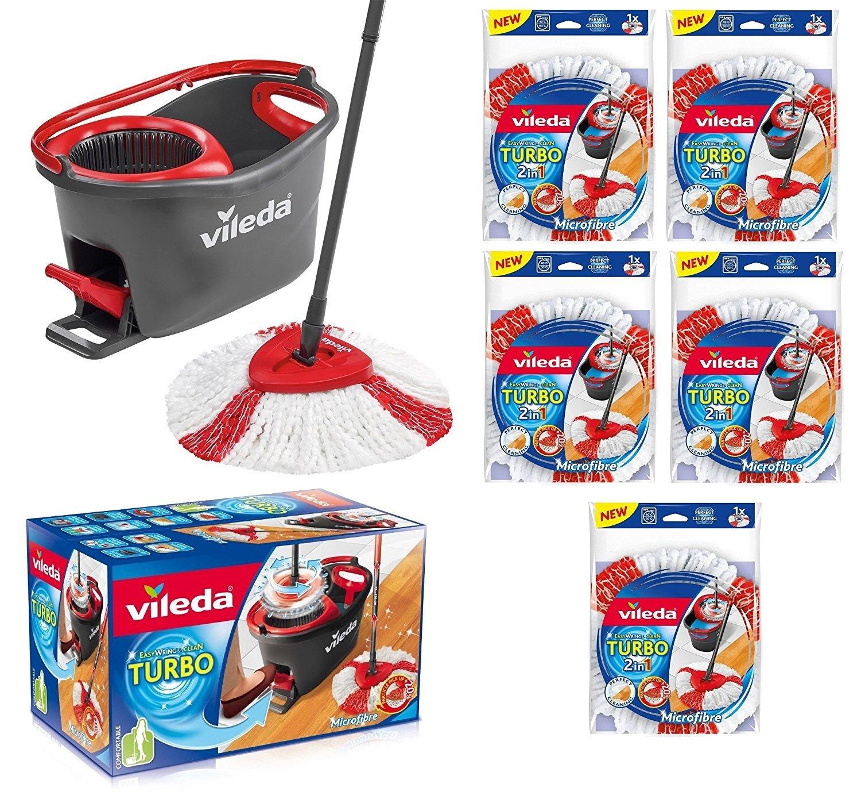 all4you Vileda Turbo EASYWORLD Anillo & Clean Cubo con Fregona y Power Plus centrifugado 5 x cabezal de repuesto: Amazon.es: Hogar