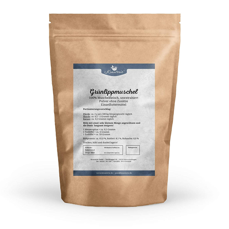 Gr/ünlippmuschel in hochwertiger Qualit/ät Perna Canaliculus erh/ältlich von 30 g bis 2 kg Hunde oder Katzen f/ür Pferde frei von jeglichen Zus/ätzen