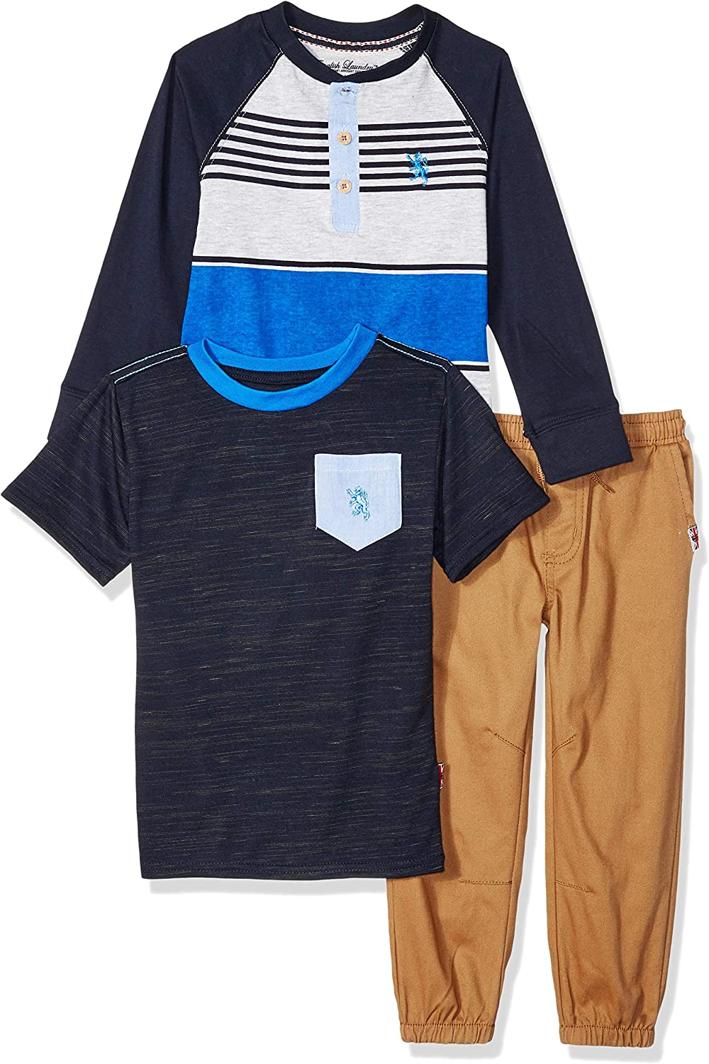 English Laundry Boys' Long Henley, Short Sleeve T-Shirt, and Jogger