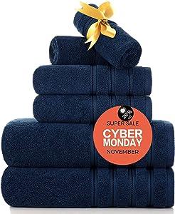 Zole Luxury Turkish Bathroom Towel Set 6 Piece Soft Premium Towels and Washcloths Sets Hotel Quality Fade-Resistant Navyblue