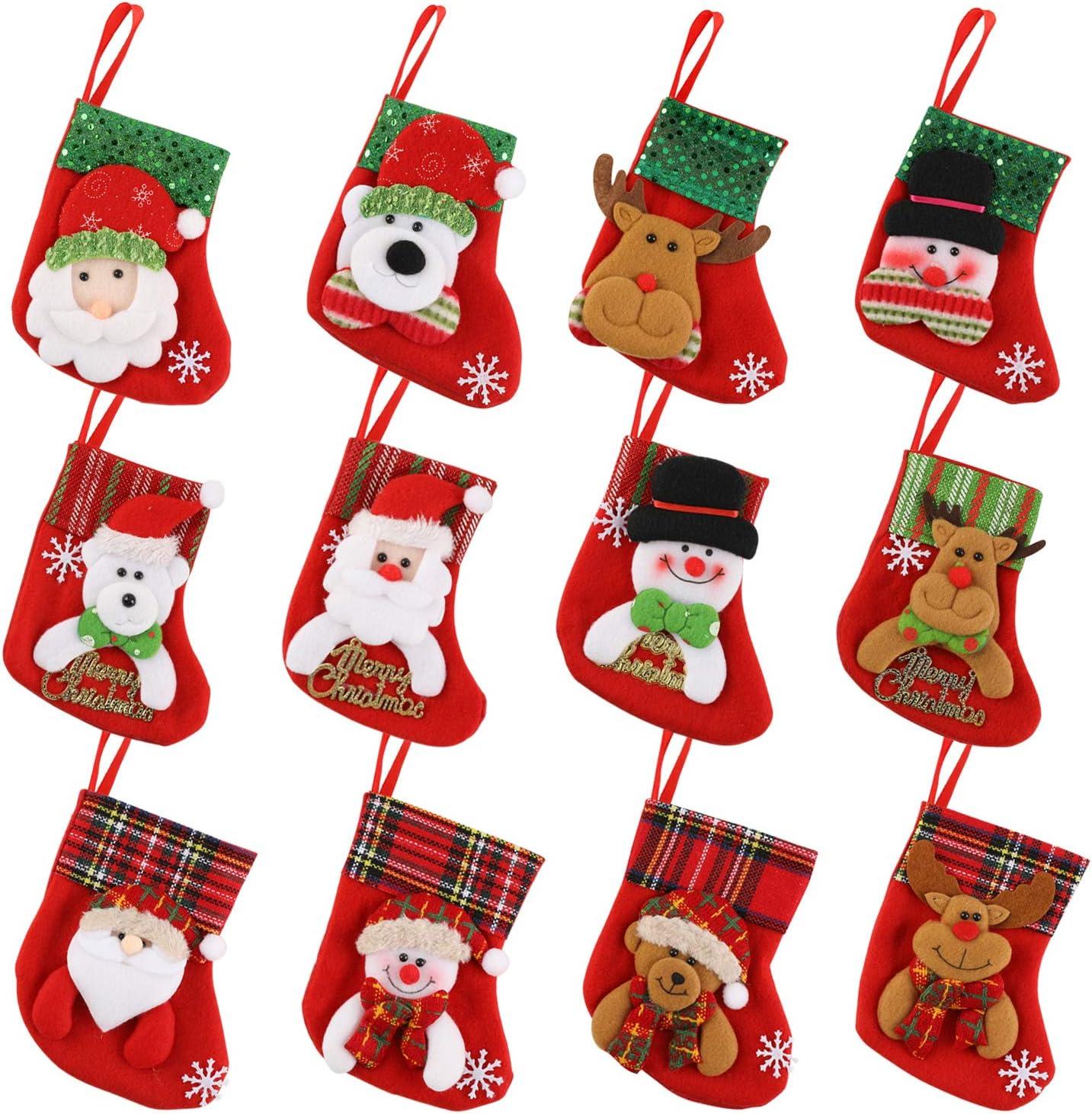 HOWAF Mini Christmas Stockings 12 Pack 6 Small Xmas Stockings Santa Snowman Reindeer Kids Goodie Bags Christmas Tree Decorations Dinner Table Ornaments