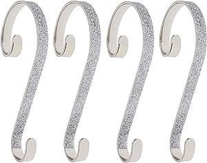 Haute Decor Stocking Scrolls Stocking Hanger- 4 Pack Glitter (Silver)