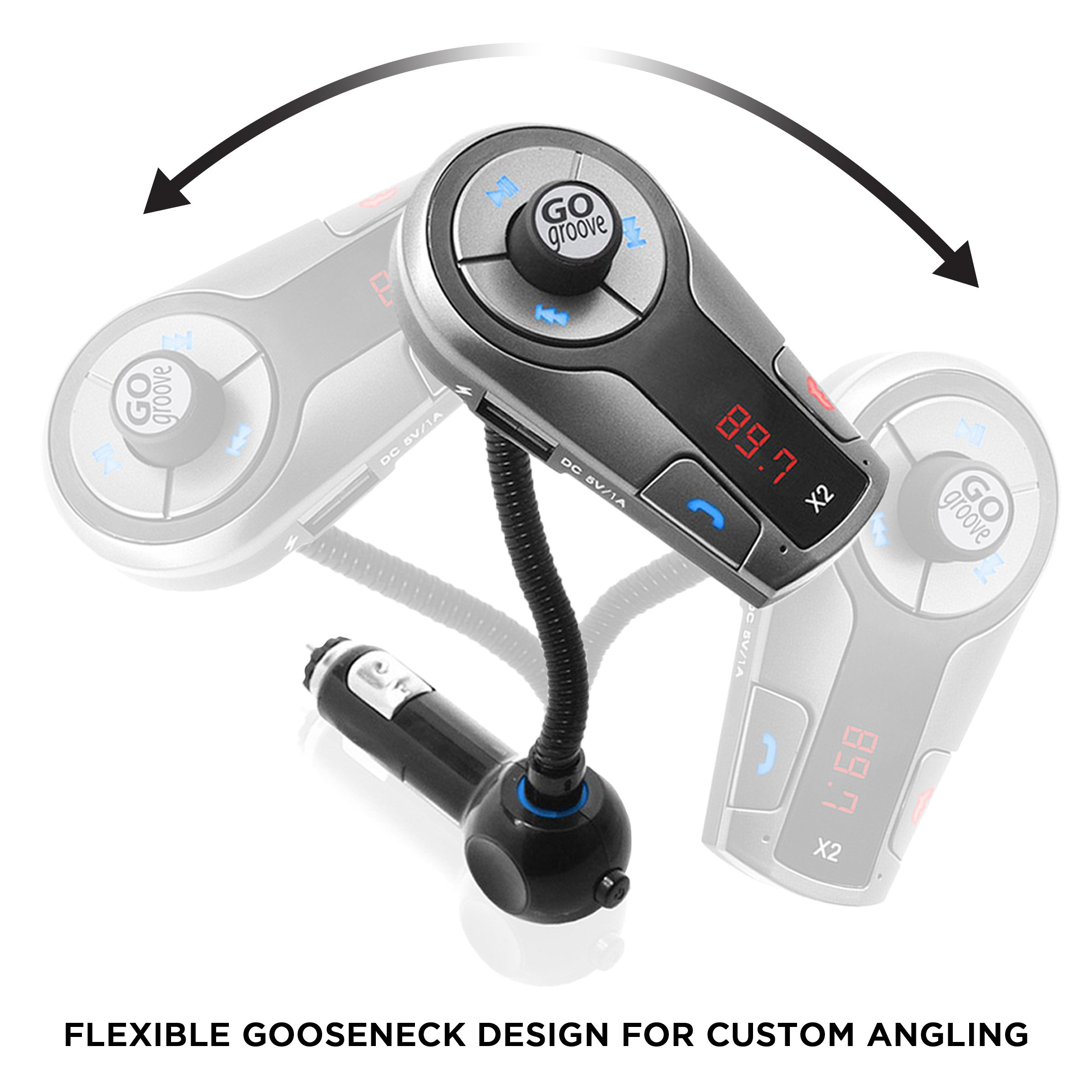GOgroove FlexSMART X2 Bluetooth FM Transmitter for Car Radio w/USB Charging, Multipoint, Music Controls, Hands Free Microphone for iPhone, Android by GOgroove (Image #7)