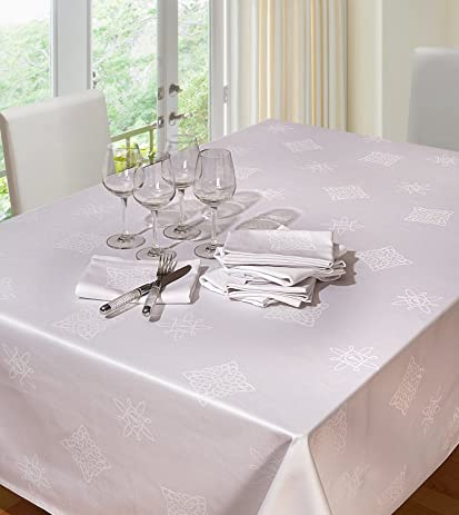 White Square Tablecloth 54x54 Clearance   Cotton Damask Tablecloth Jacquard  Celtic Shemrock Table Linen   Ideal