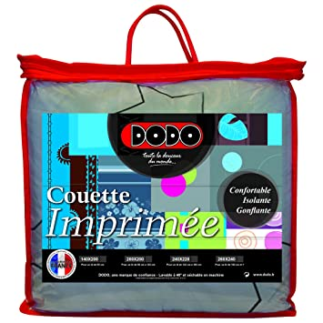 Dodo 27369200 Couette Imprimee Double Face Polyester Etoile Argentee