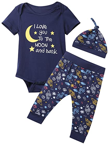 1eea21ac1cf2 Baby Boys 3PCS Outfit Set To The Moon and Back Romper Long Pants with Hat (