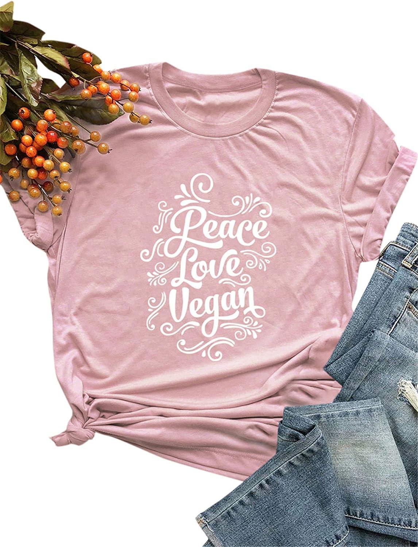 Festnight Camiseta de Mujer Divertida Camisa de algodón Casual Camiseta de Manga Corta con Estampado Peace Love Vegan O-Cuello Flojo más tamaño Blusa
