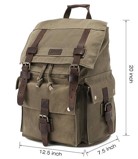 7d11de453f08 Kattee Men s Leather Canvas Backpack Large School Bag Travel Rucksack for  17