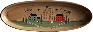 CVHOMEDECO. Primitive Rustic House Willow Tree Sheep Wood Decorative Plate Oval Crackled Display Wooden Plate Home Décor Art, 15-1/2 X 5-3/4 Inch