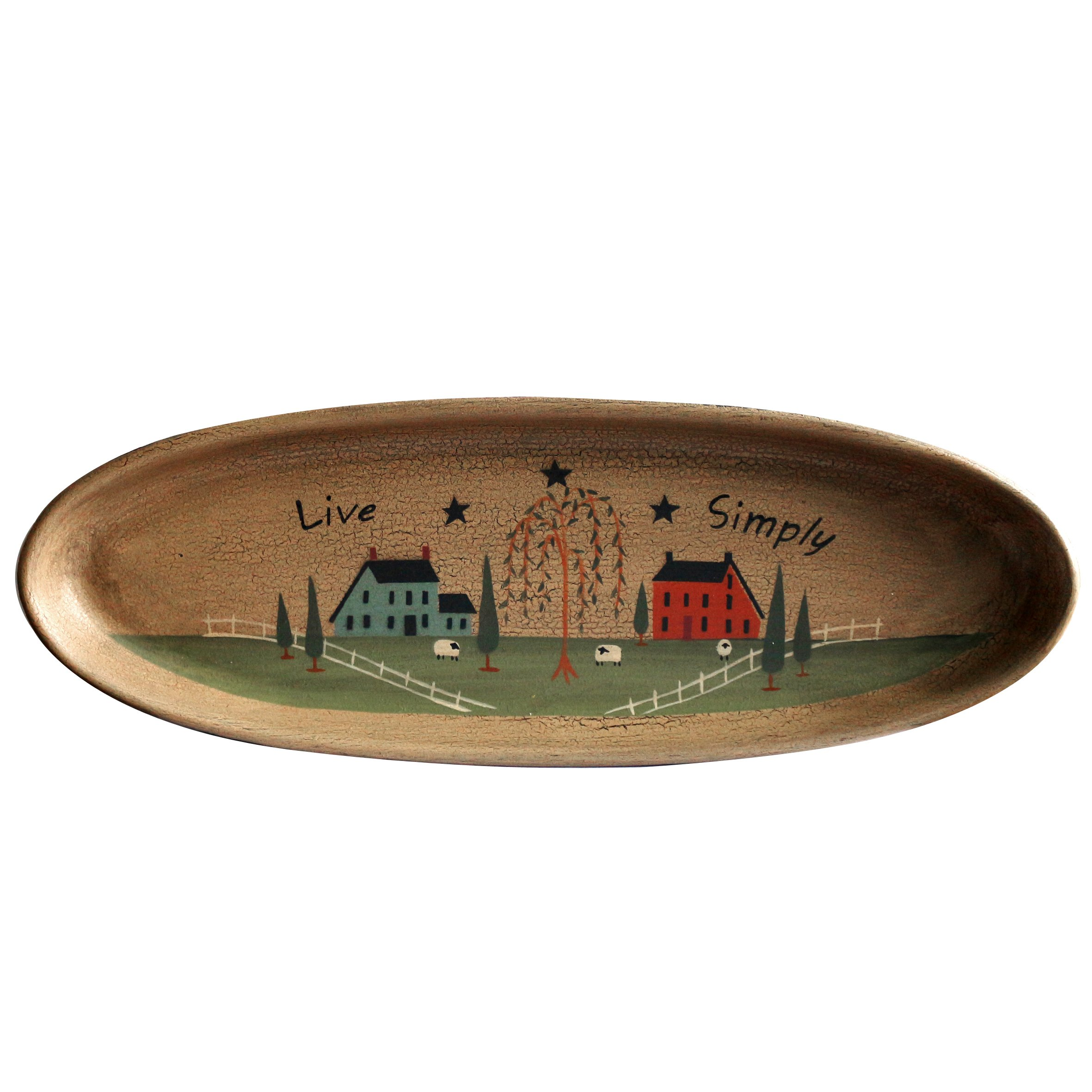 CVHOMEDECO. Primitive Rustic House Willow Tree Sheep Wood Decorative Plate Oval Crackled Display Wooden Plate Home Décor Art, 15-1/2'' X 5-1/2''
