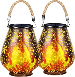 TomCare Solar Lights Flickering Flame Metal Solar Lantern Outdoor Hanging Decorative Lanterns with Rope Handle Solar Powered Waterproof Decorations for Patio Garden Deck Yard, 2 Pack