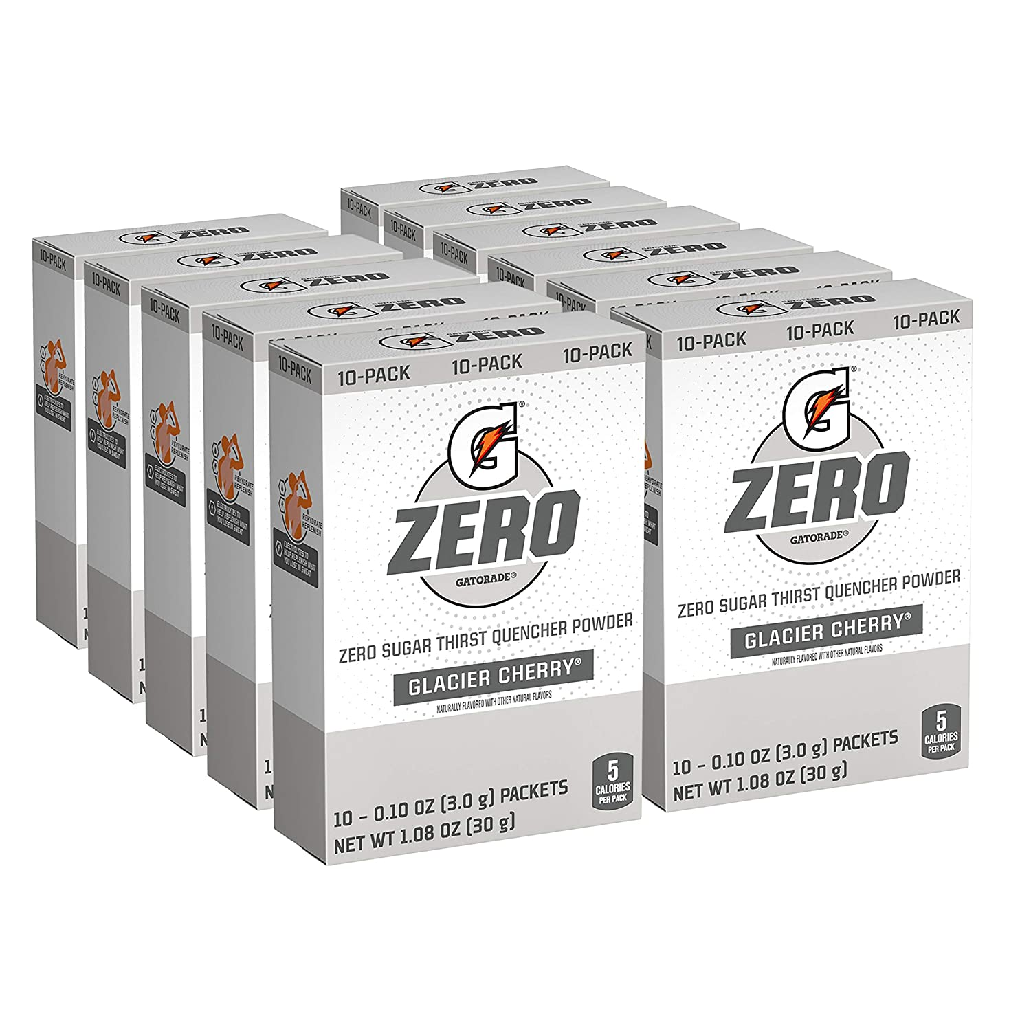 Gatorade G Zero Powder, Glacier Cherry, 0.10oz Packets (120 Pack)