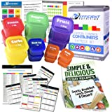 21 Day LABELED Efficient Nutrition Portion Control Containers Kit (14-Piece) + COMPLETE GUIDE + 21 DAY PLANNER + RECIPE eBOOK, BPA FREE Color Coded Meal Prep System for Diet and Weight Loss