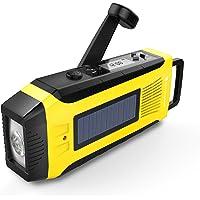 RunningSnail AM/FM NOAA Weather Emergency Solar Digital Crank Radio with 3W LED Flashlight, SOS Alarm & 2000MAh Power Bank(Yellow)