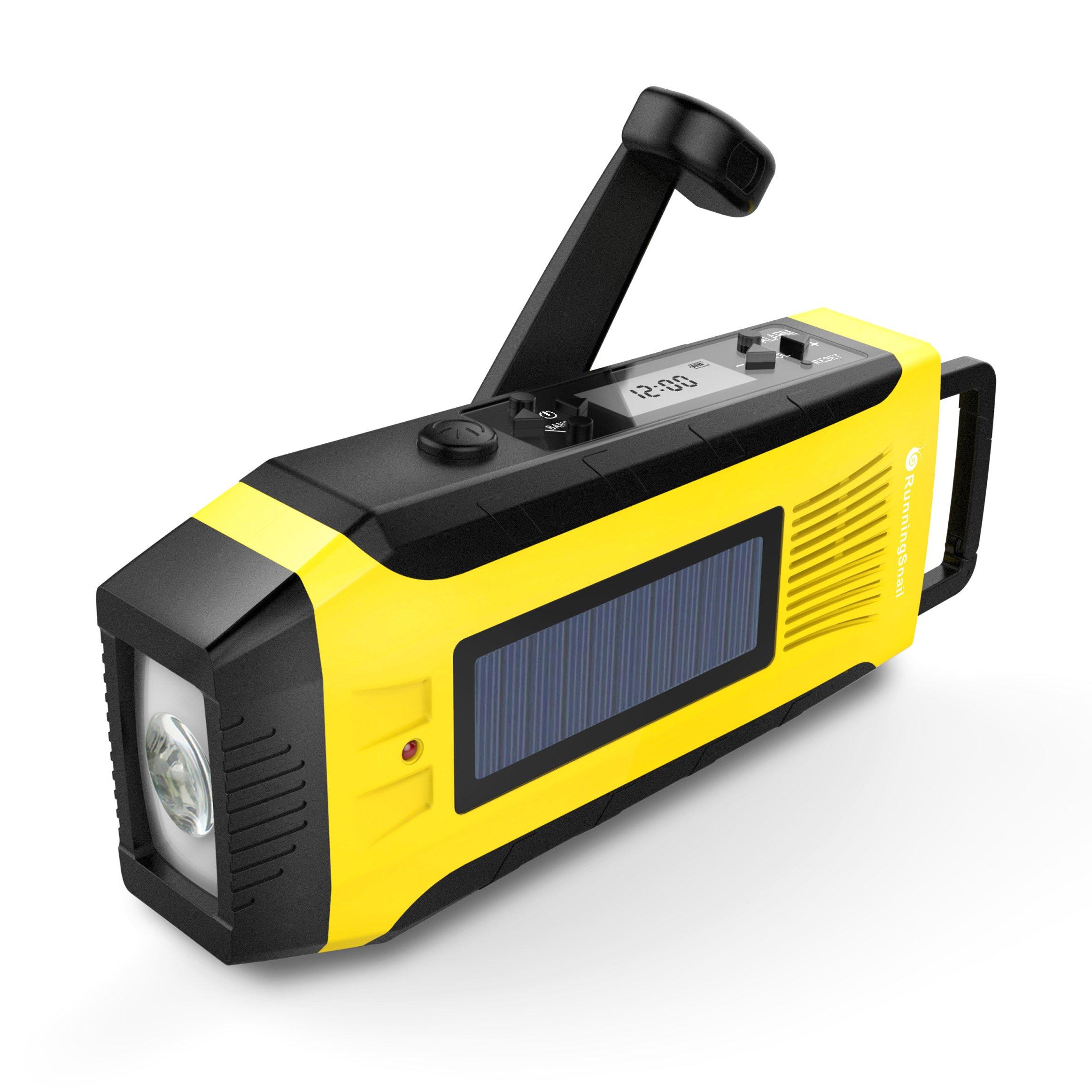 RunningSnail AM/FM NOAA Weather Emergency Solar Digital Crank Radio with 3W LED Flashlight, SOS Alarm & 2000MAh Power Bank(Yellow) … by RunningSnail (Image #1)
