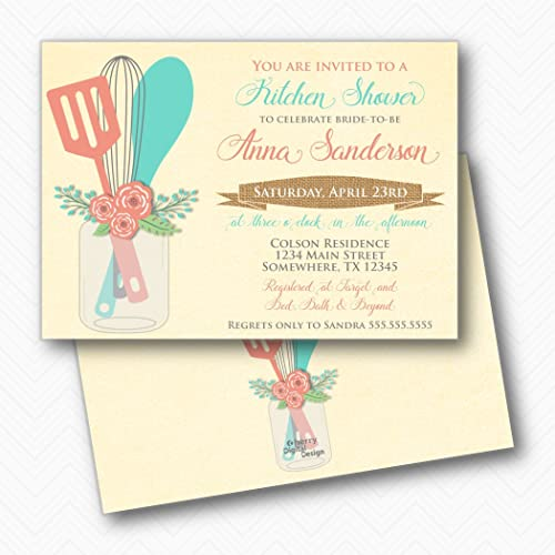 stock the kitchen mason jar bridal shower invitations envelopes included