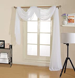 "Decotex Premium Quality Sheer Voile Scarf Valance for Home & Event Designs (54"" X 216"", White)"