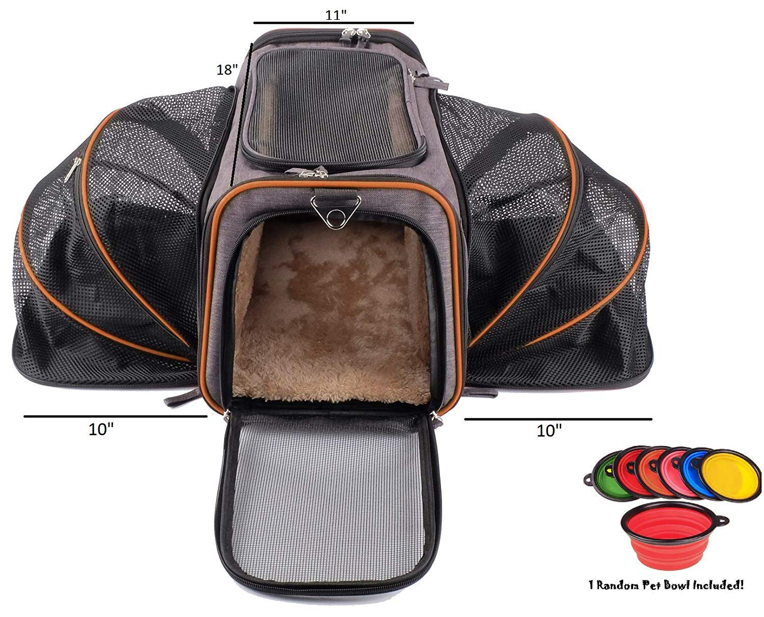 Petpeppy.com The Original Airline Approved Expandable Pet Carrier by Pet Peppy- Two Side Expansion, Designed for Cats, Dogs, Kittens,Puppies - Extra Spacious Soft Sided Carrier! (Black) by Petpeppy.com