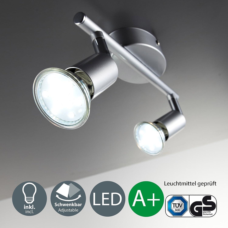 LED ceiling light rotatable I spotlight for kitchen, living room & bedroom I ceiling lamp I spot I warm white I metal I matt titanium design I 2 x 3 W illuminant I 230 V I GU10 I IP20 [Energy Class A+] B.K.Licht 30-01-02-T
