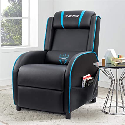 Homall Gaming Recliner Chair Single Living Room Sofa Recliner Black PU  Leather Recliner Seat (Blue
